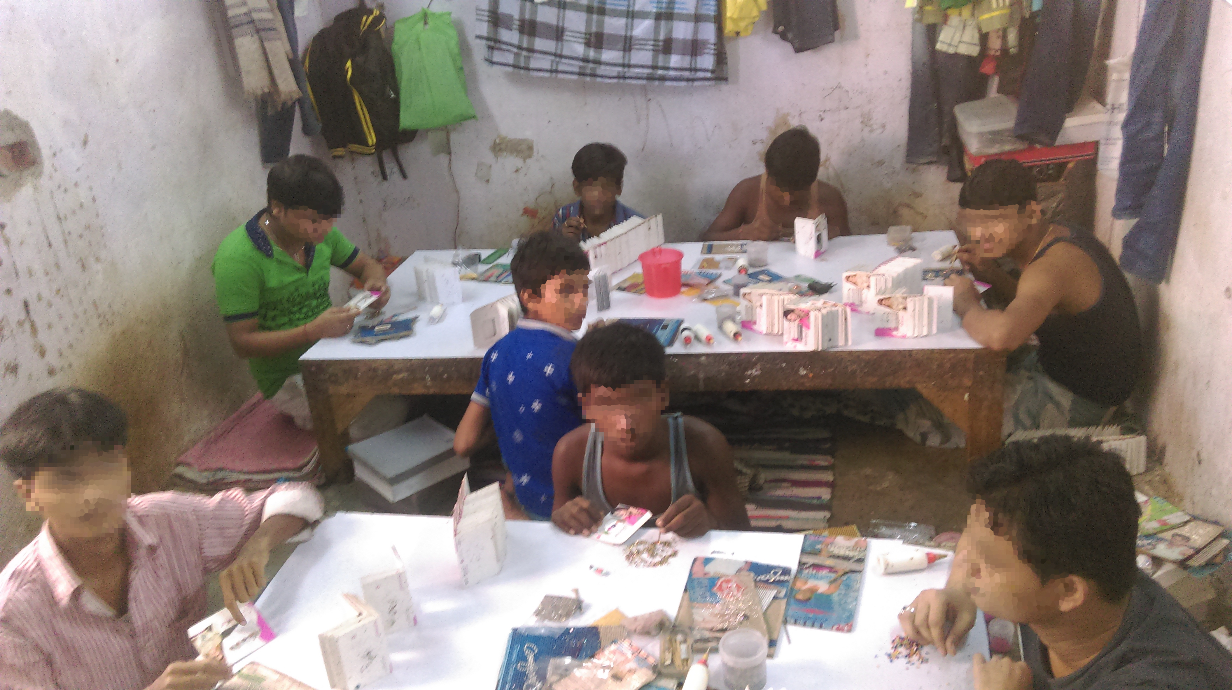 children at the bonded labor site